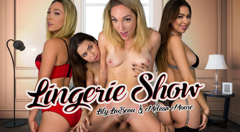 Lily LaBeau and Melissa Moore in WankVR virtual sex threesome lingerie show