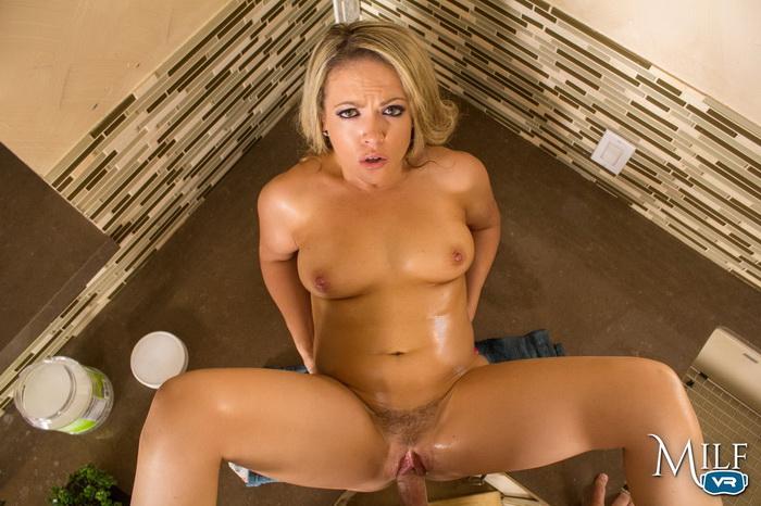 VR sex with hot blonde MILF Carmen Valentina